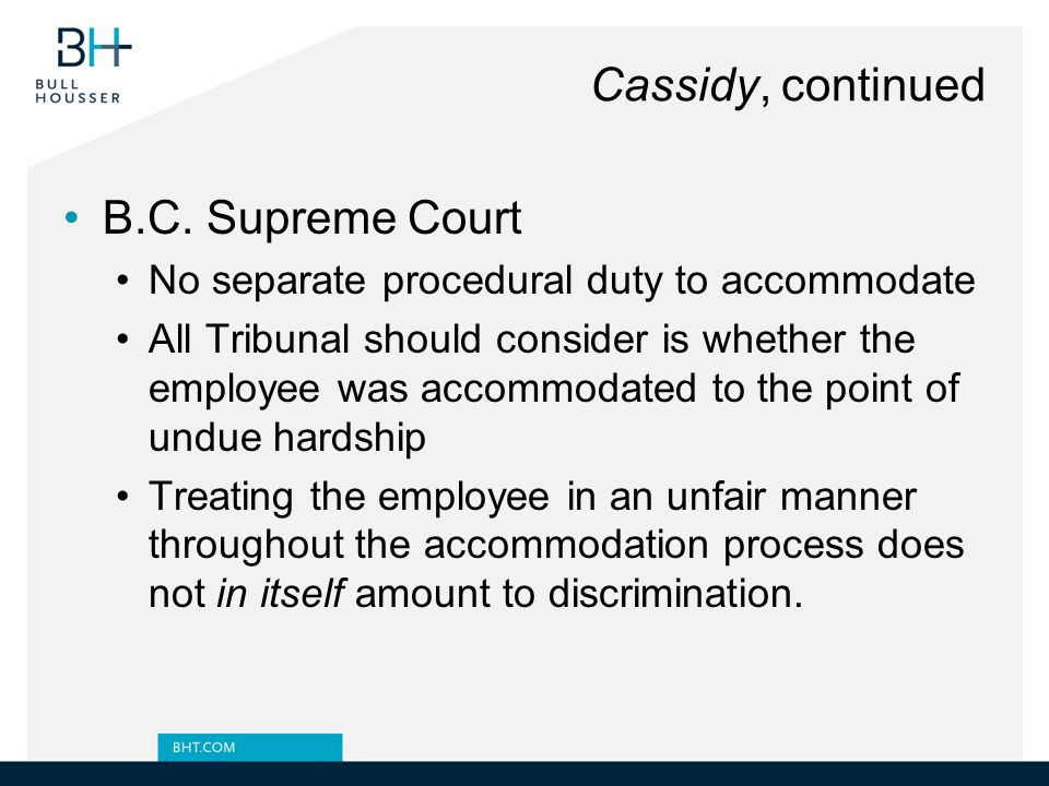 Cassidy, continued B.C. Supreme Court