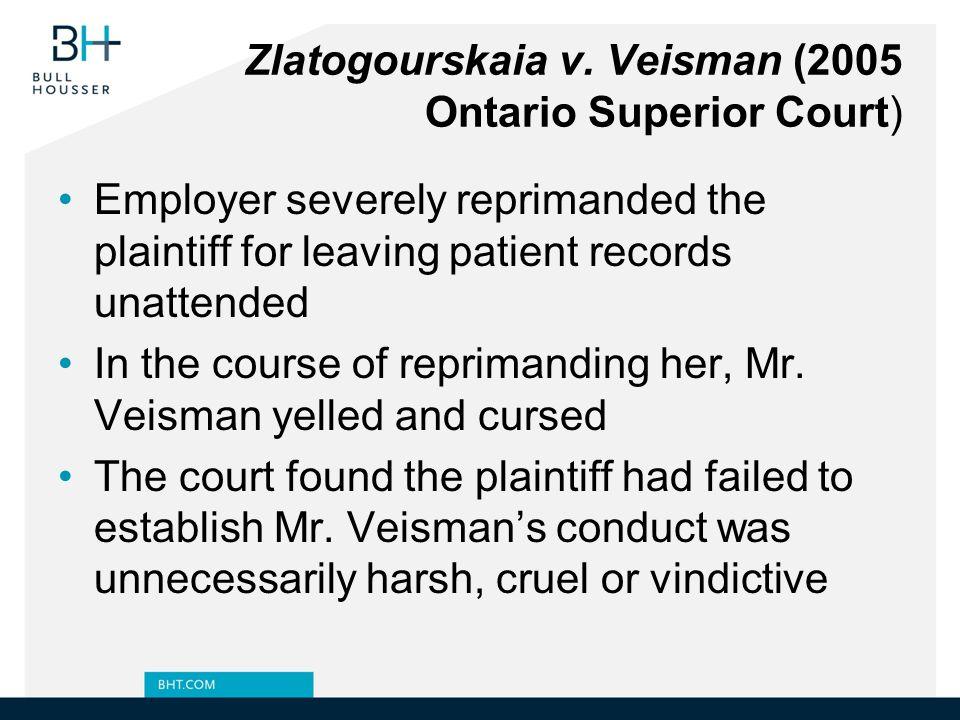 Zlatogourskaia v. Veisman (2005 Ontario Superior Court)