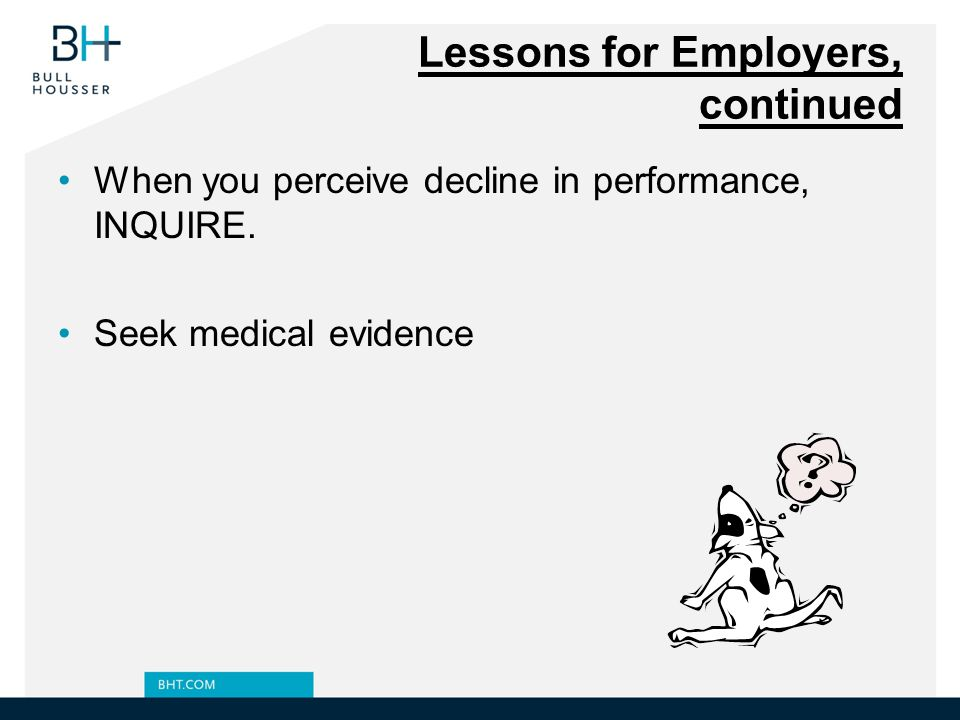Lessons for Employers, continued