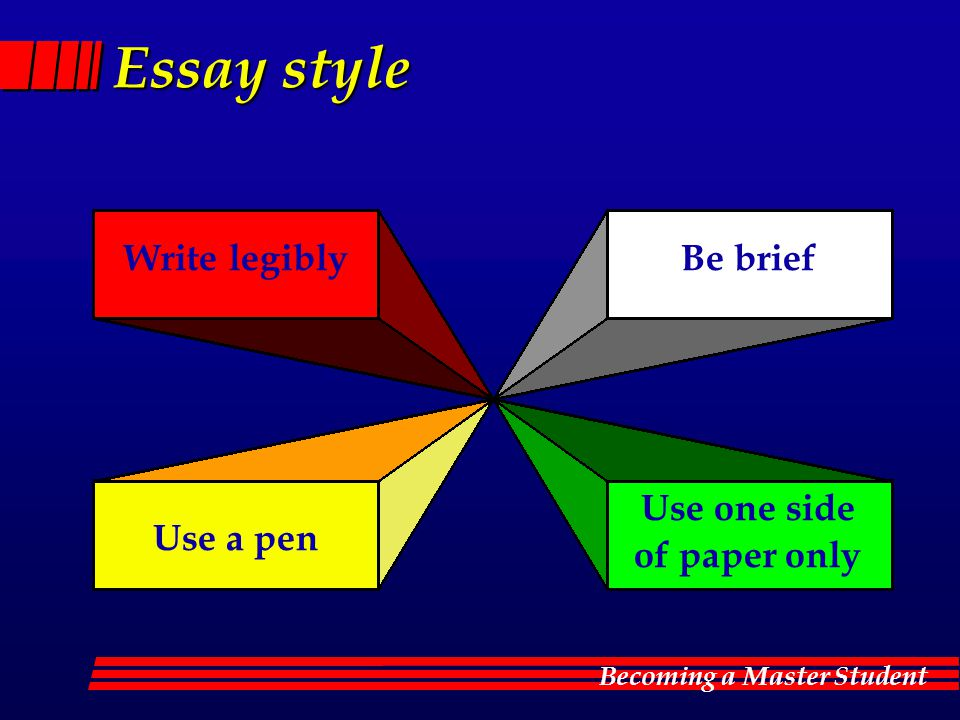 Essay style Write legibly Be brief Use one side of paper only