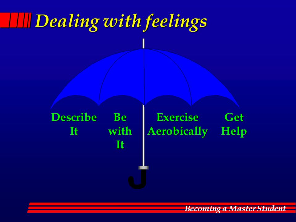 Dealing with feelings Describe It Be with It Exercise Aerobically Get