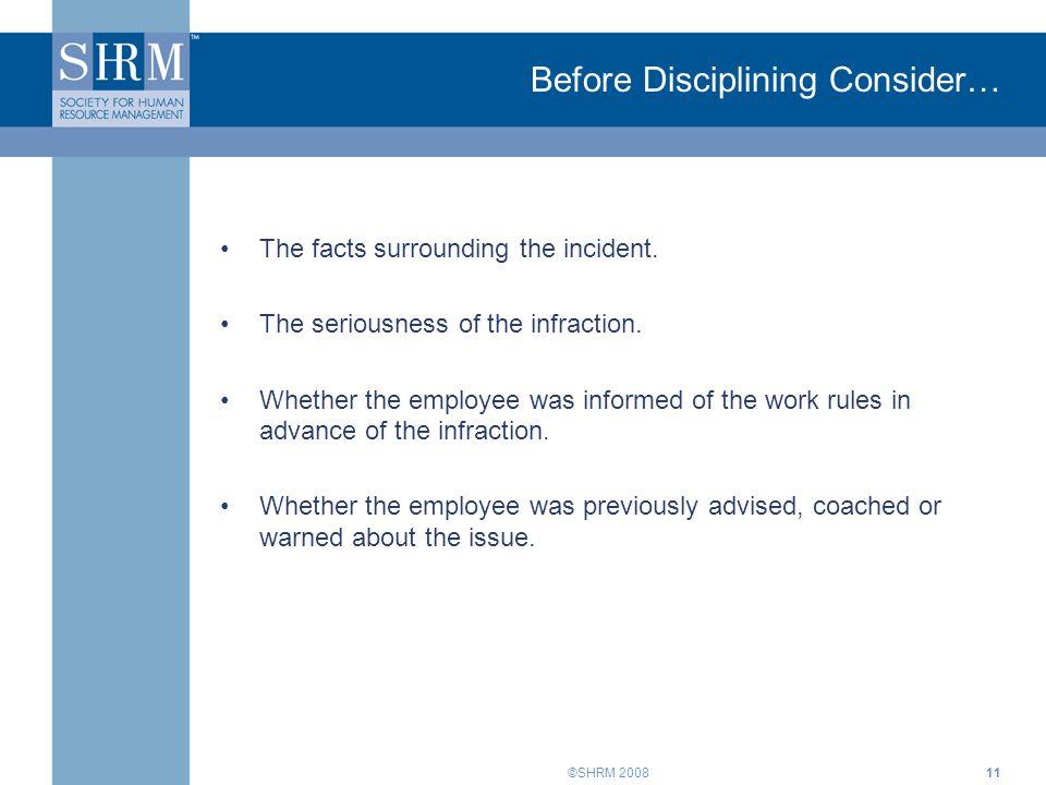 Before Disciplining Consider…