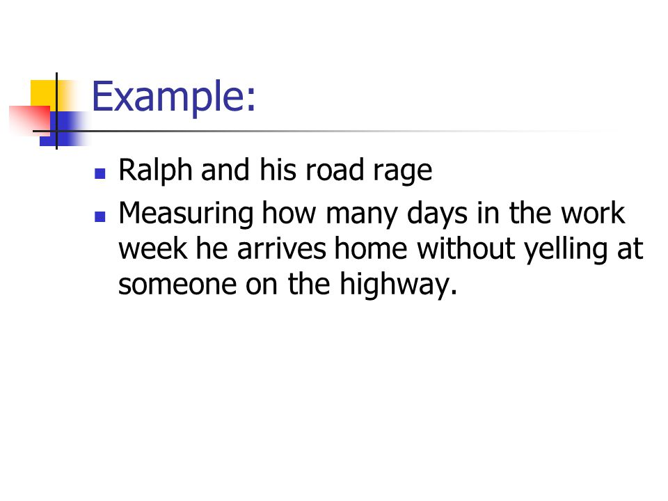 Example: Ralph and his road rage