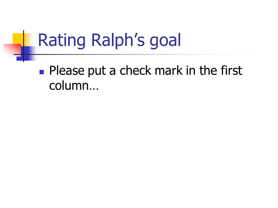 Rating Ralph's goal Please put a check mark in the first column…