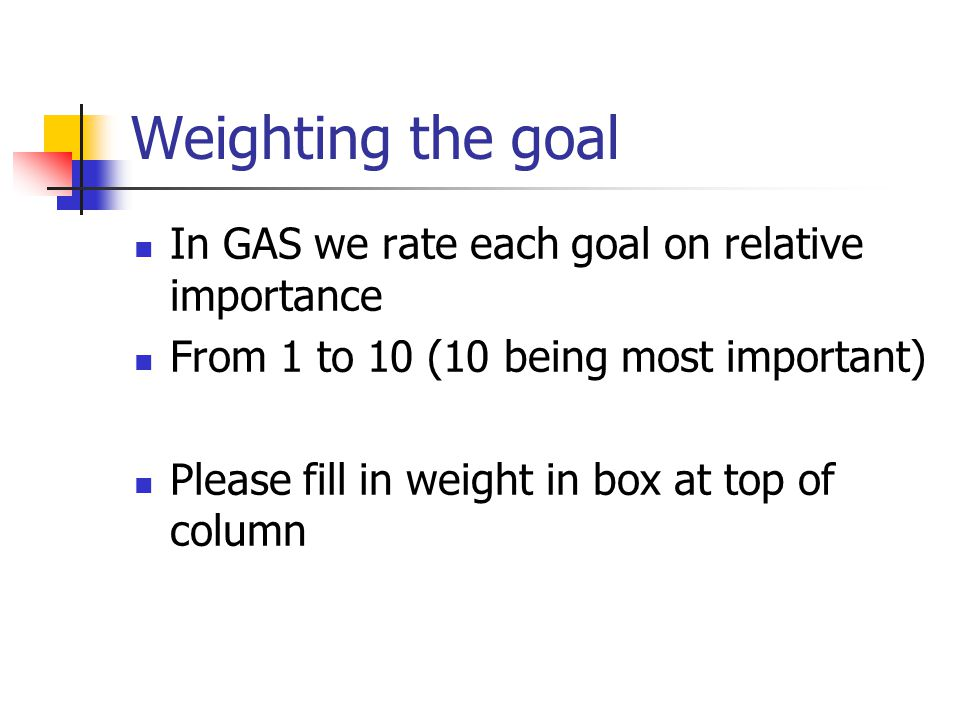 Weighting the goal In GAS we rate each goal on relative importance