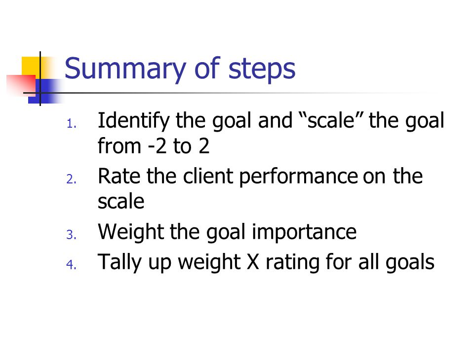Summary of steps Identify the goal and scale the goal from -2 to 2