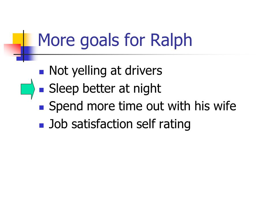 More goals for Ralph Not yelling at drivers Sleep better at night