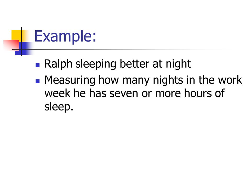 Example: Ralph sleeping better at night