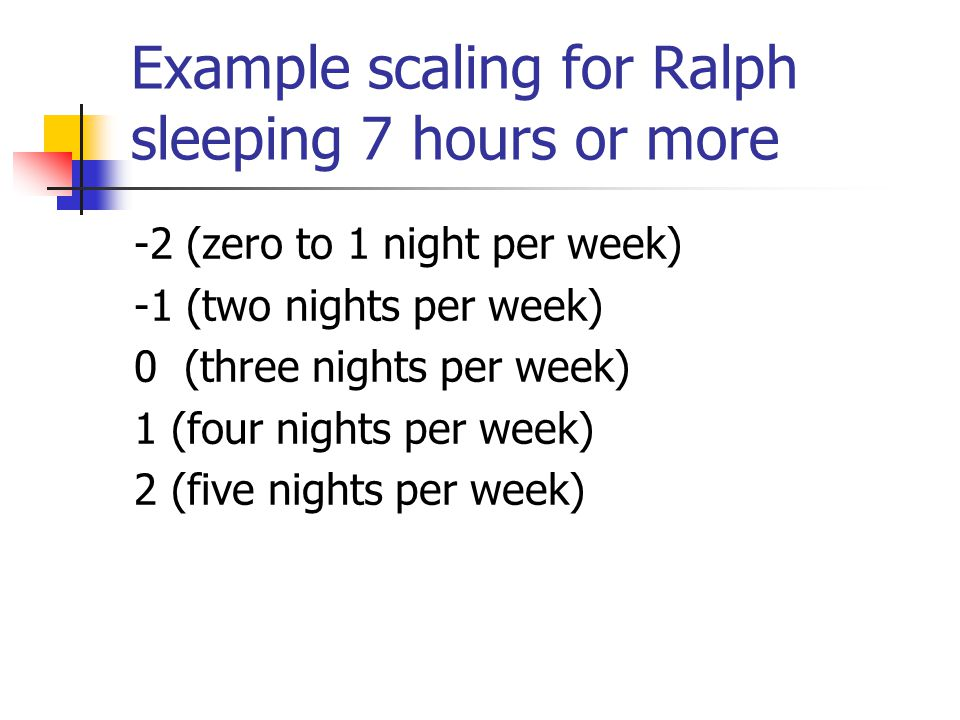Example scaling for Ralph sleeping 7 hours or more