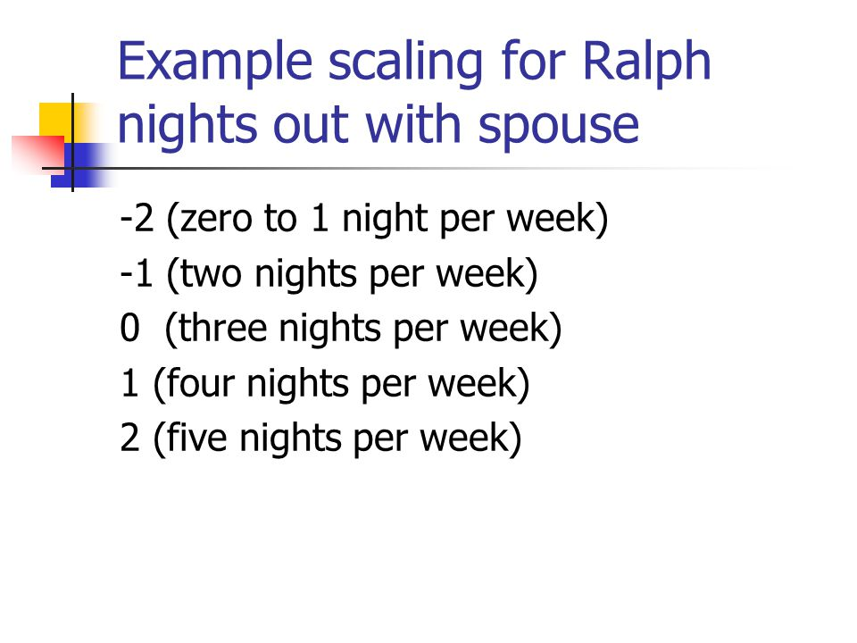 Example scaling for Ralph nights out with spouse
