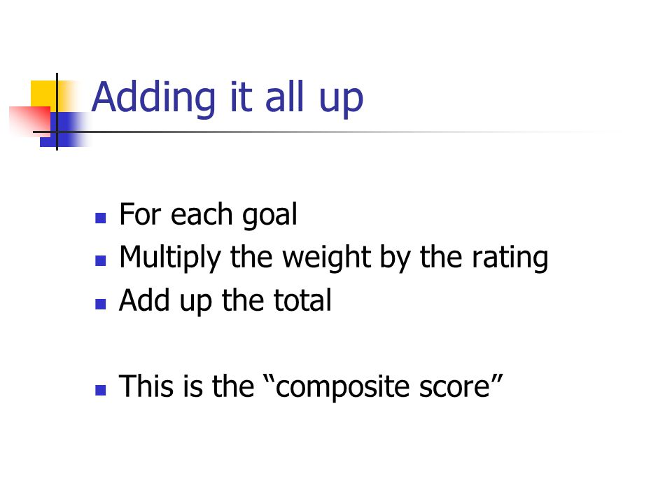 Adding it all up For each goal Multiply the weight by the rating