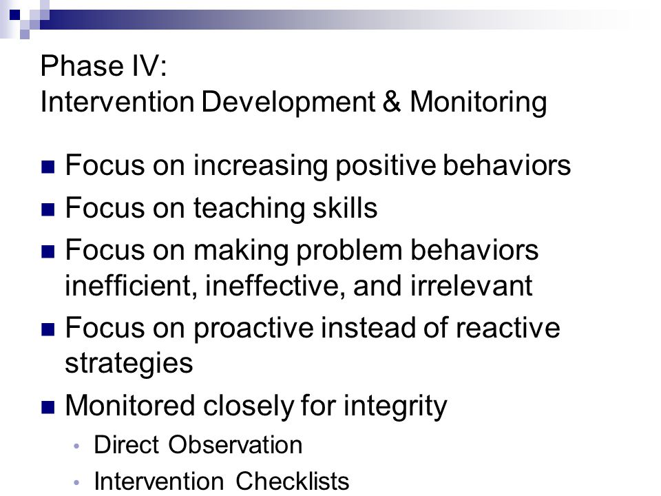 Phase IV: Intervention Development & Monitoring