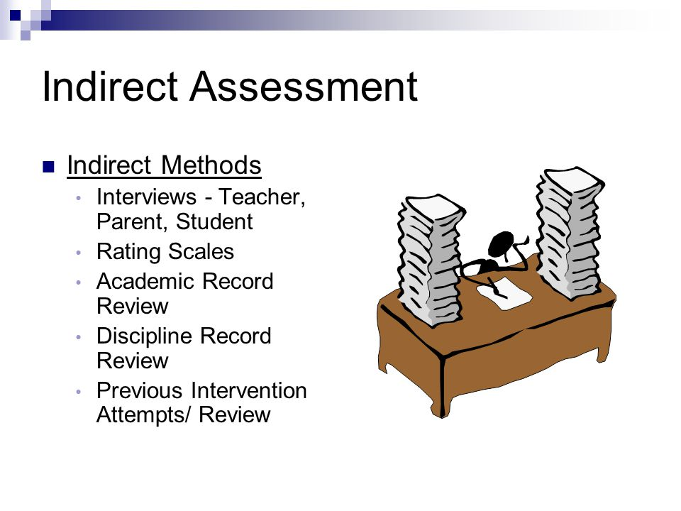 Indirect Assessment Indirect Methods