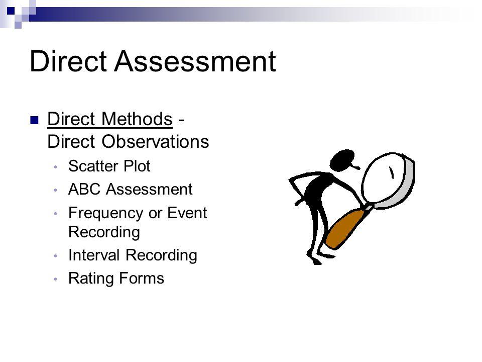 Direct Assessment Direct Methods - Direct Observations Scatter Plot