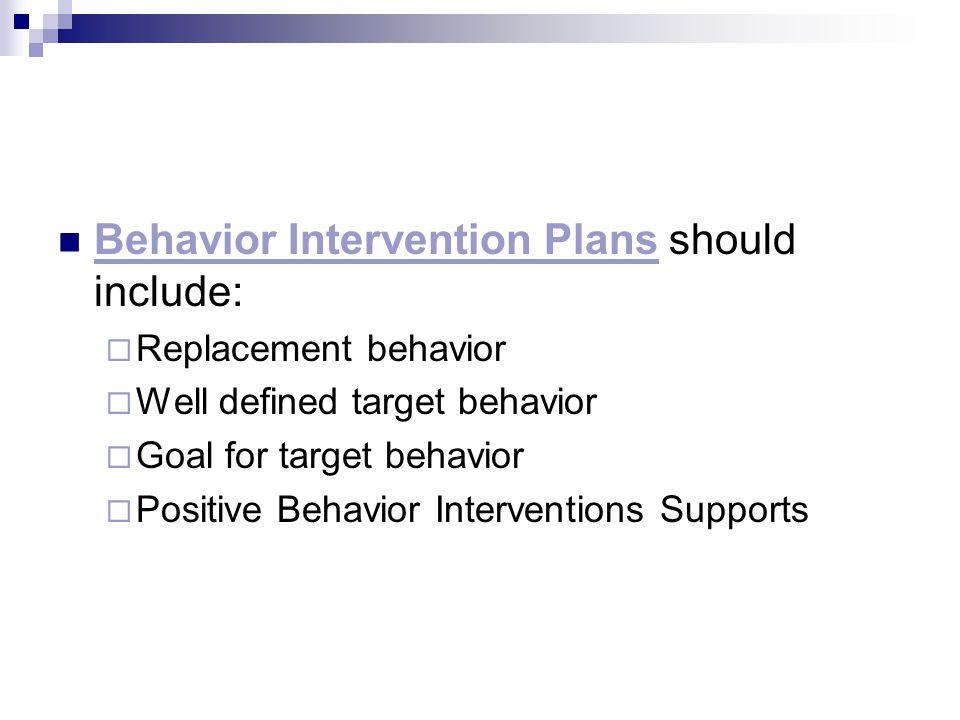 Behavior Intervention Plans should include: