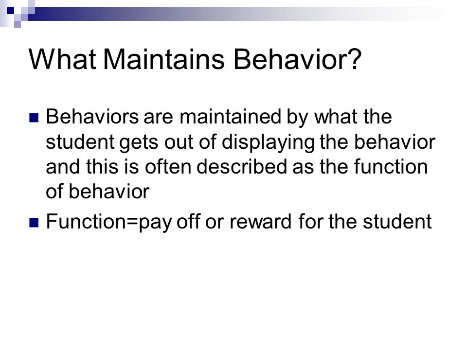 What Maintains Behavior
