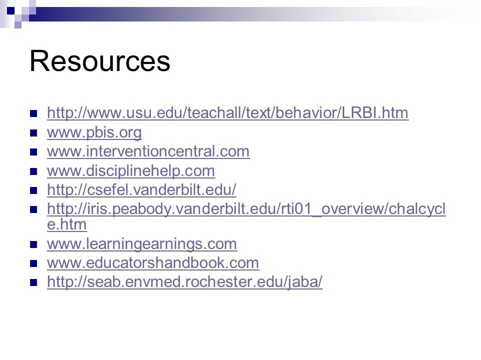 Resources http://www.usu.edu/teachall/text/behavior/LRBI.htm