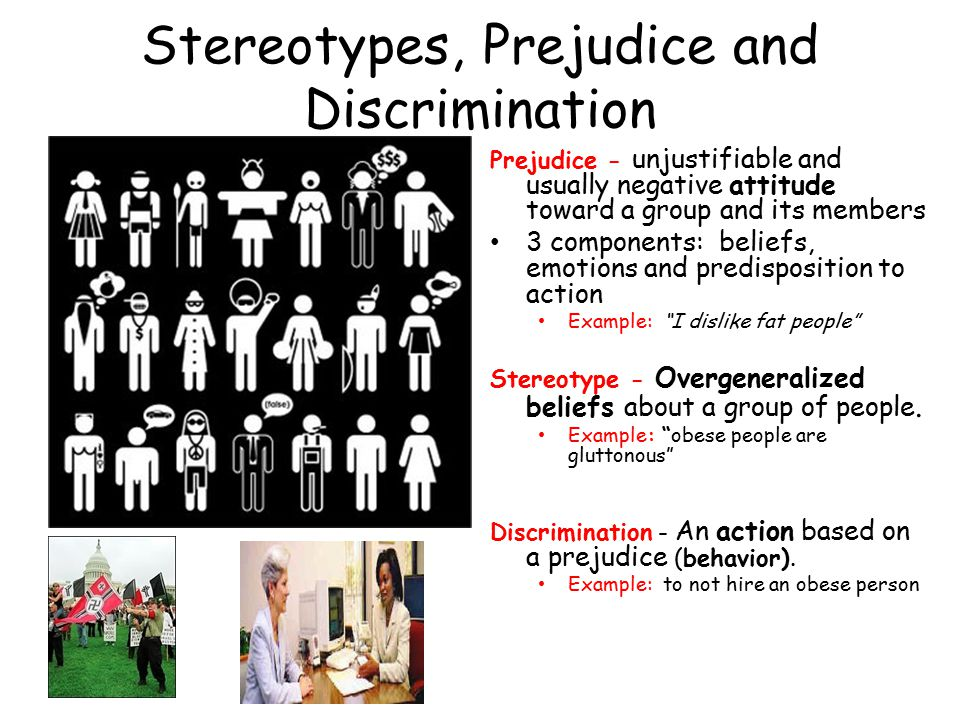 relationship between stereotype and prejudice examples