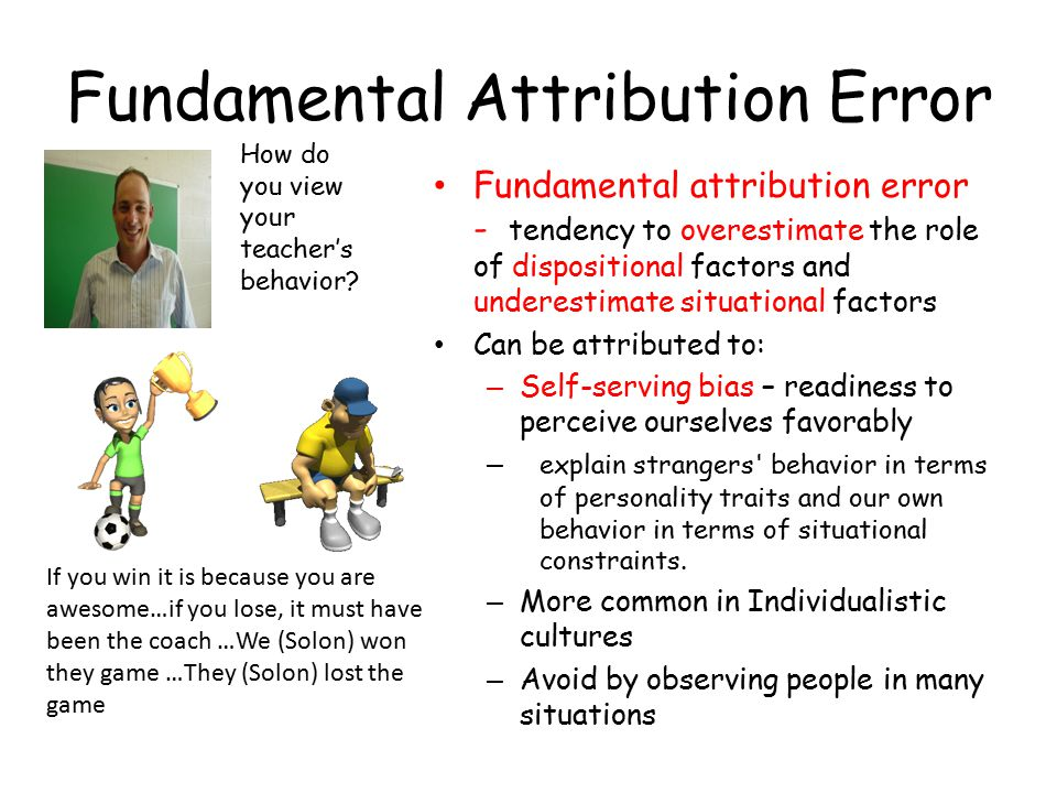 attribution theory the idea of our judgement on the effect of the outcome Attribution theory is concerned with how individuals interpret events and how this relates to their thinking and behavior heider (1958) was the first to propose a psychological theory of attribution, but weiner and colleagues (eg, jones et al, 1972 weiner, 1974, 1986) developed a theoretical.