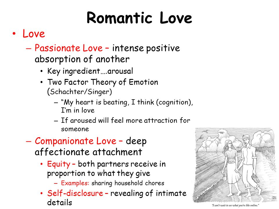 Romantic Love Love. Passionate Love – intense positive absorption of another. Key ingredient….arousal.
