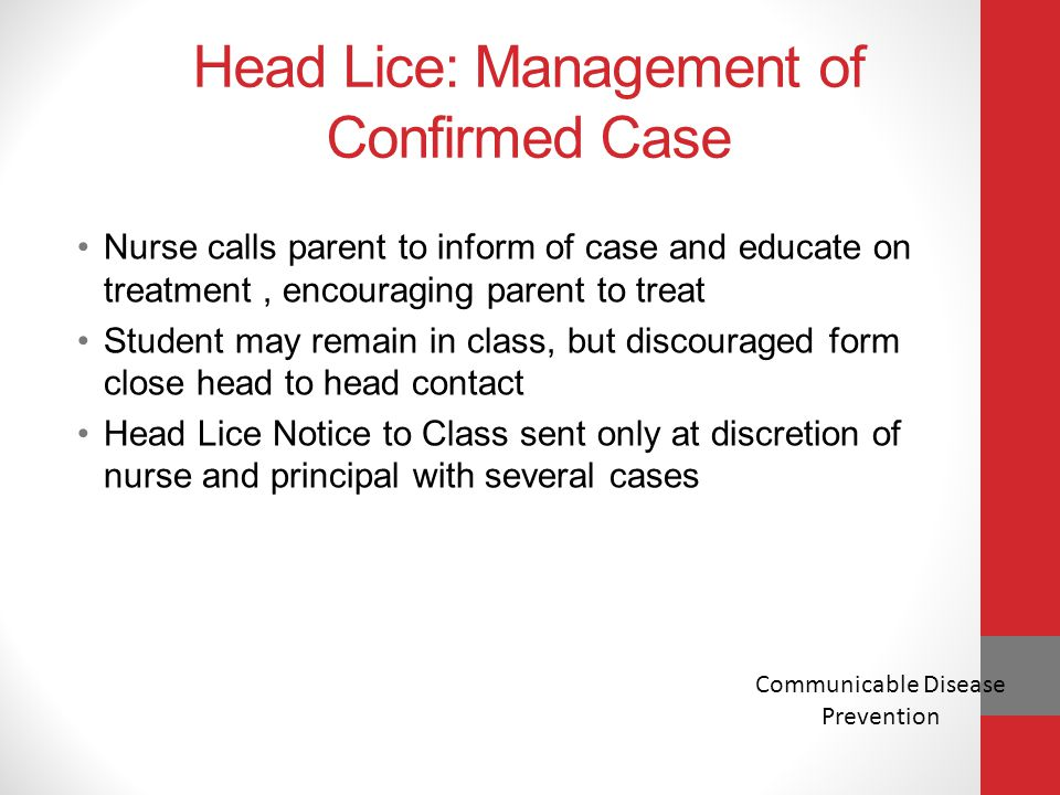 Head Lice: Management of Confirmed Case