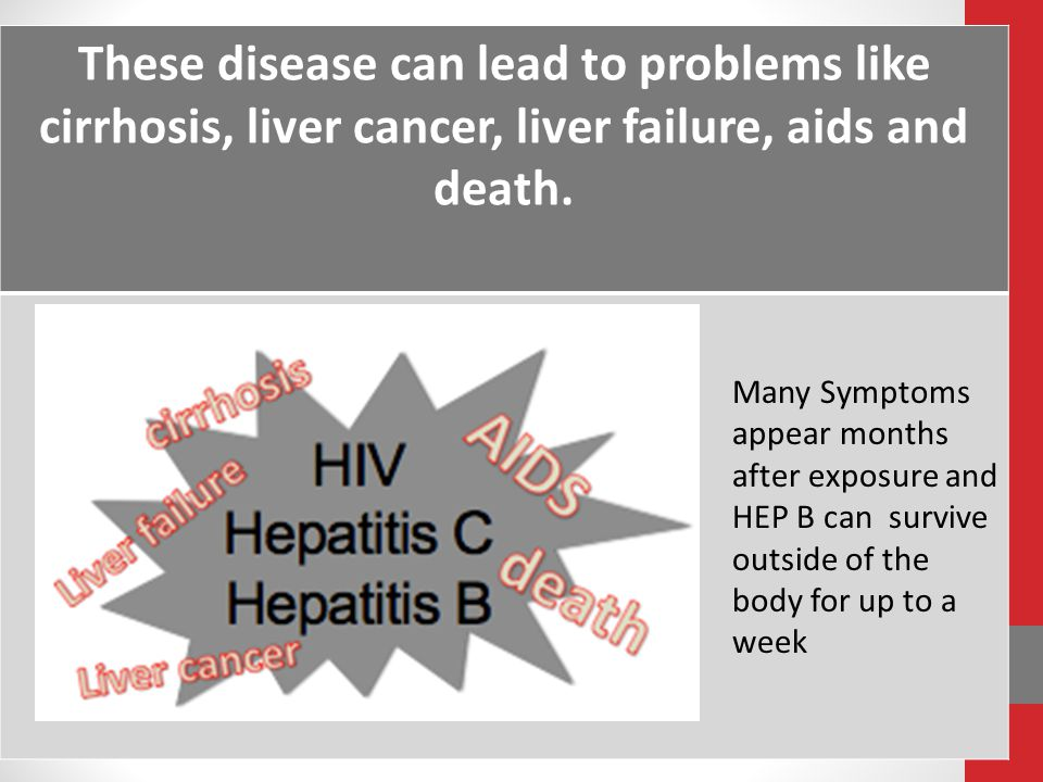These disease can lead to problems like cirrhosis, liver cancer, liver failure, aids and death.