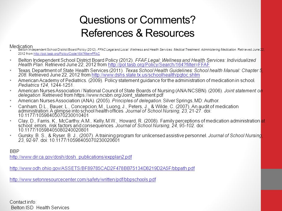 Questions or Comments References & Resources