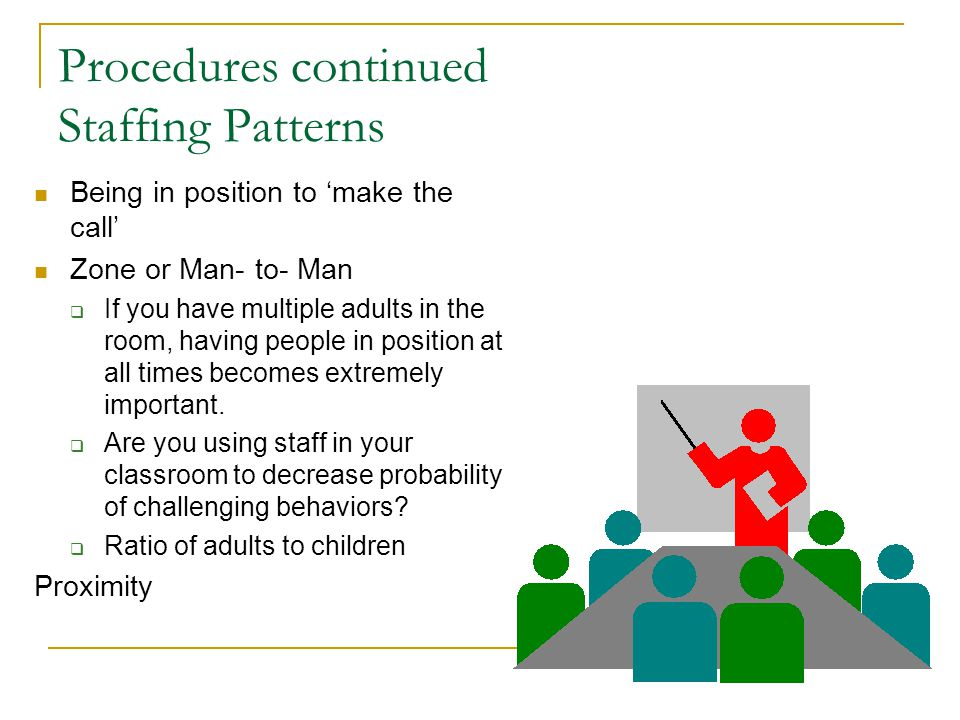 Procedures continued Staffing Patterns