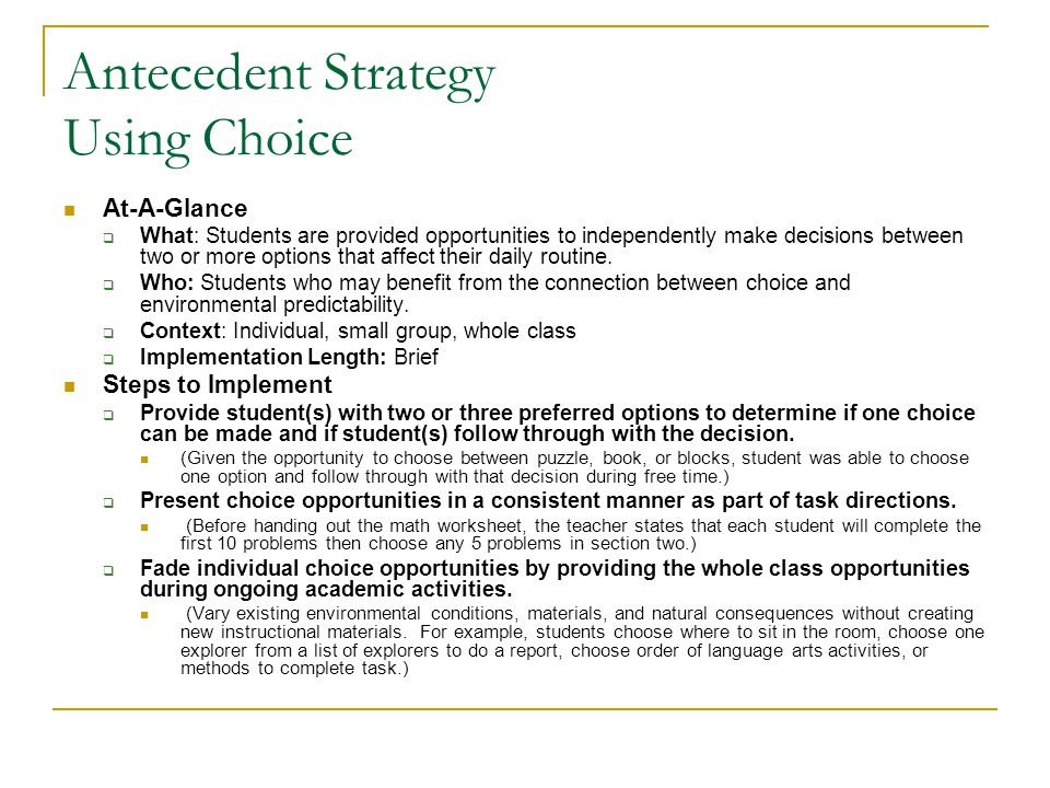 Antecedent Strategy Using Choice