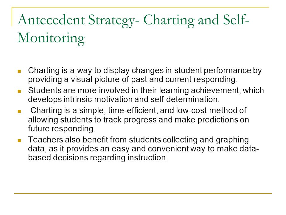 Antecedent Strategy- Charting and Self-Monitoring