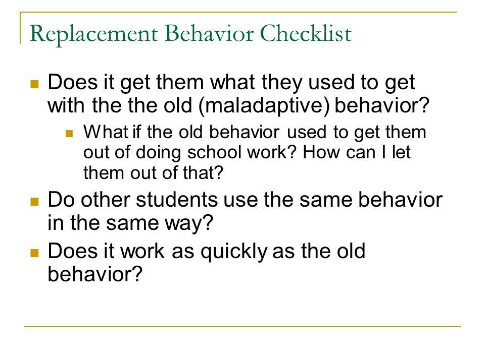Replacement Behavior Checklist