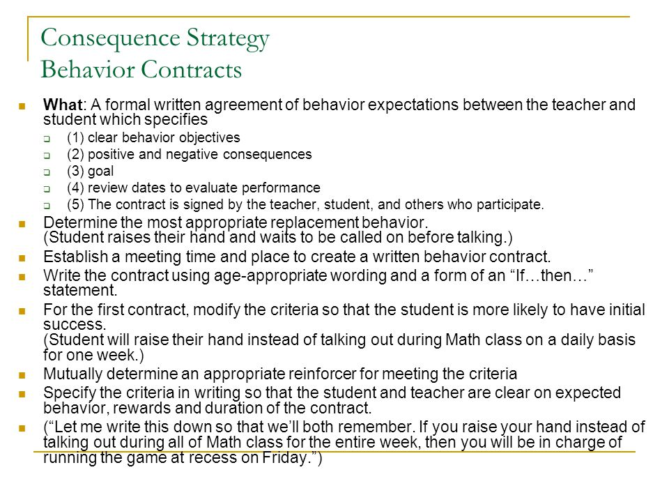 Consequence Strategy Behavior Contracts