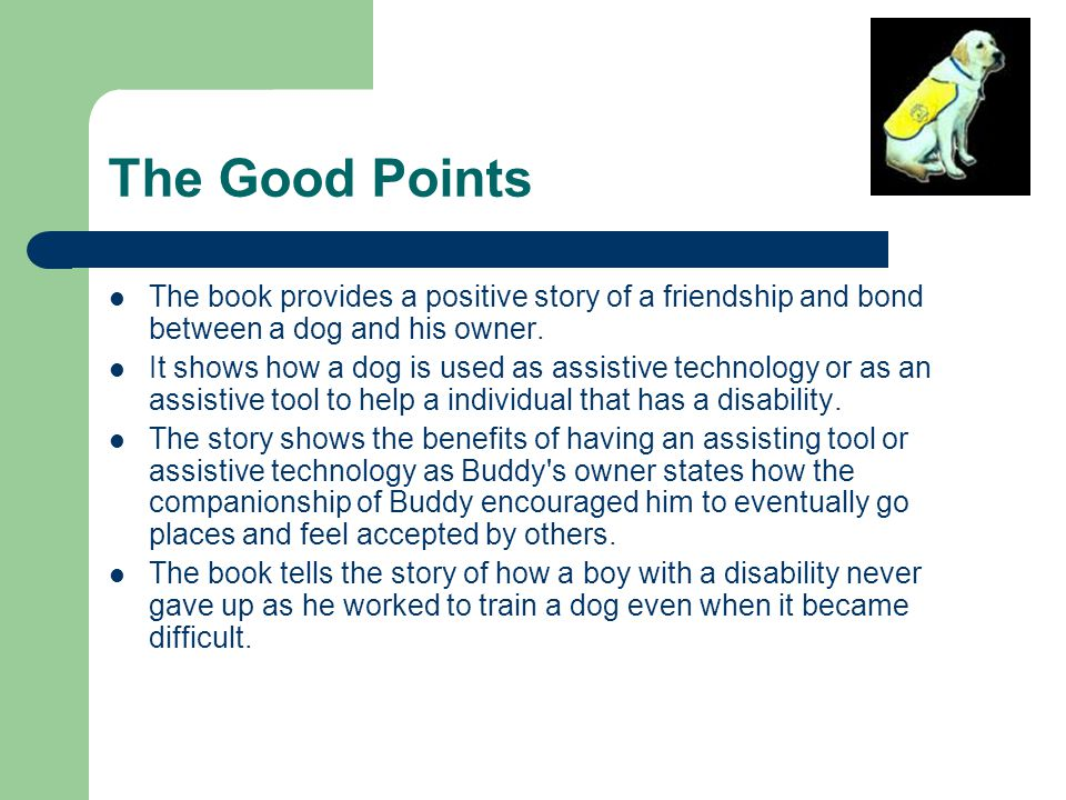 The Good Points The book provides a positive story of a friendship and bond between a dog and his owner.