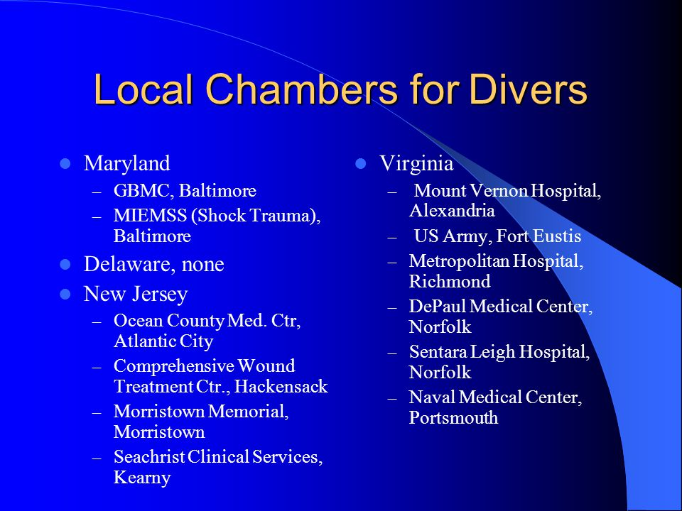 Local Chambers for Divers