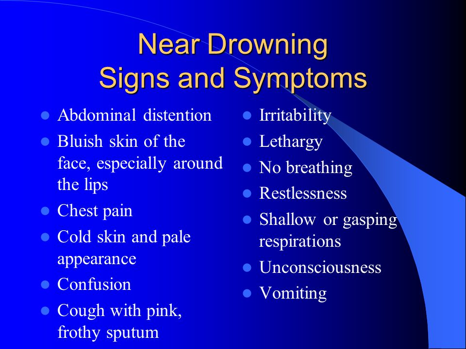 Near Drowning Signs and Symptoms
