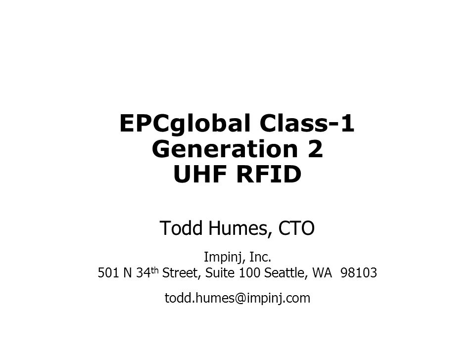 EPCglobal Class-1 Generation 2 UHF RFID