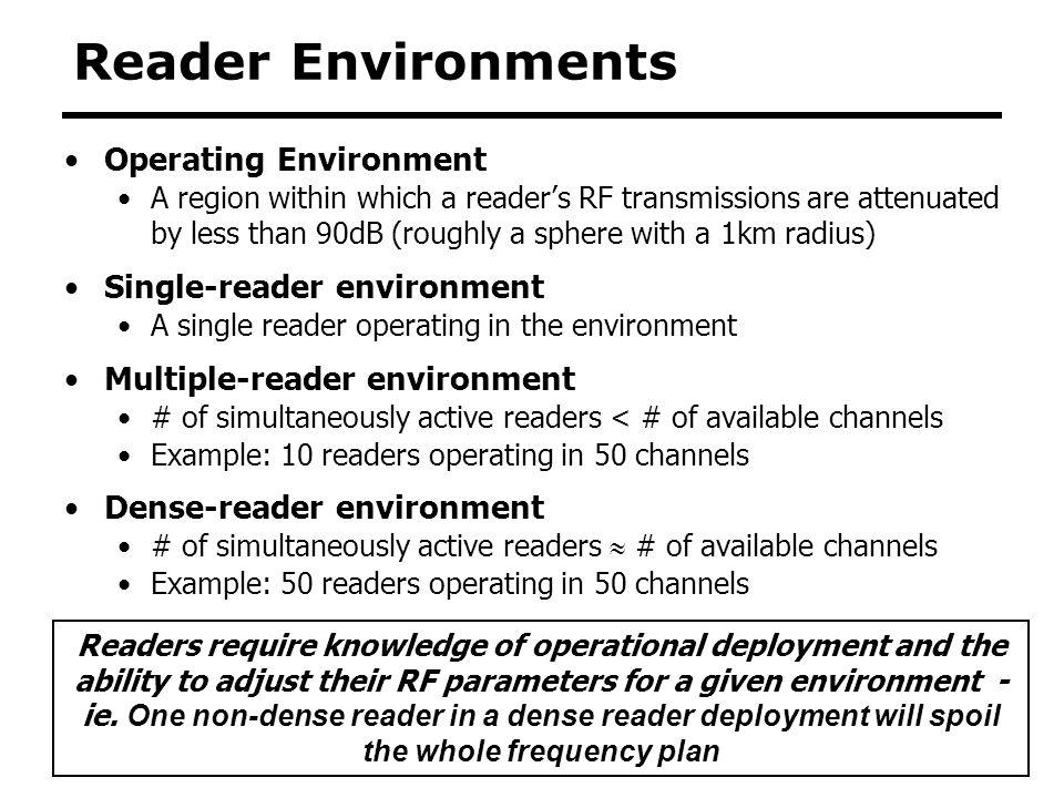Reader Environments Operating Environment Single-reader environment