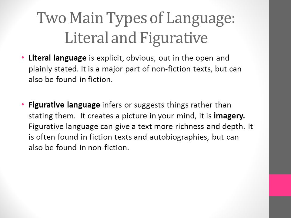 Two Main Types of Language: Literal and Figurative