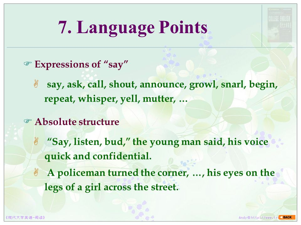 7. Language Points Expressions of say