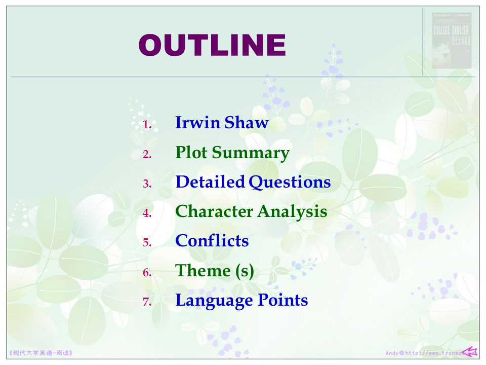 OUTLINE Irwin Shaw Plot Summary Detailed Questions Character Analysis