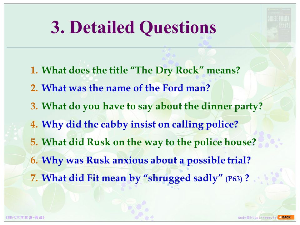 3. Detailed Questions What does the title The Dry Rock means