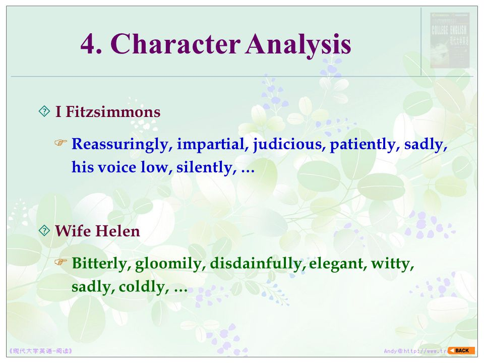 4. Character Analysis I Fitzsimmons