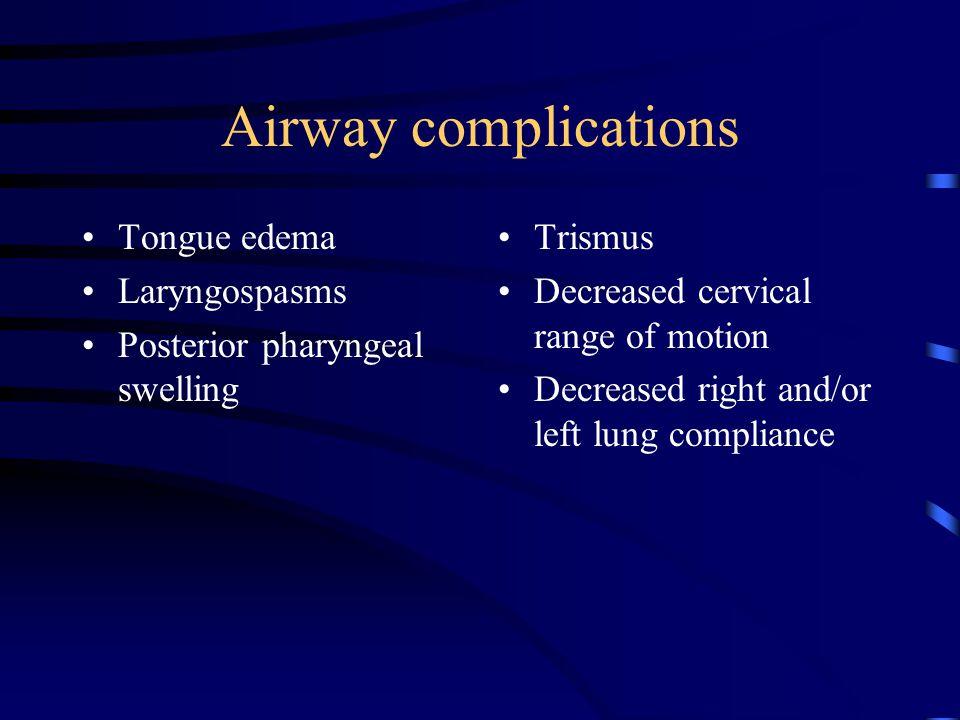 Airway complications Tongue edema Laryngospasms