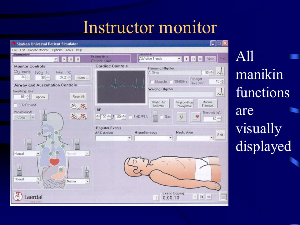 Instructor monitor All manikin functions are visually displayed