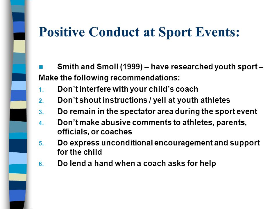 Positive Conduct at Sport Events: