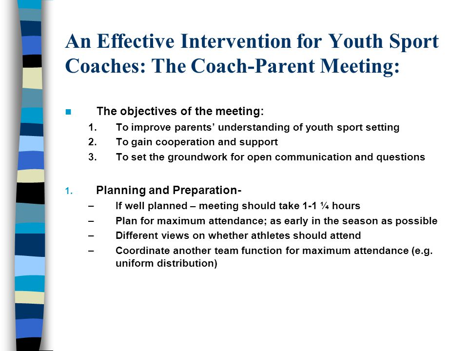 An Effective Intervention for Youth Sport Coaches: The Coach-Parent Meeting: