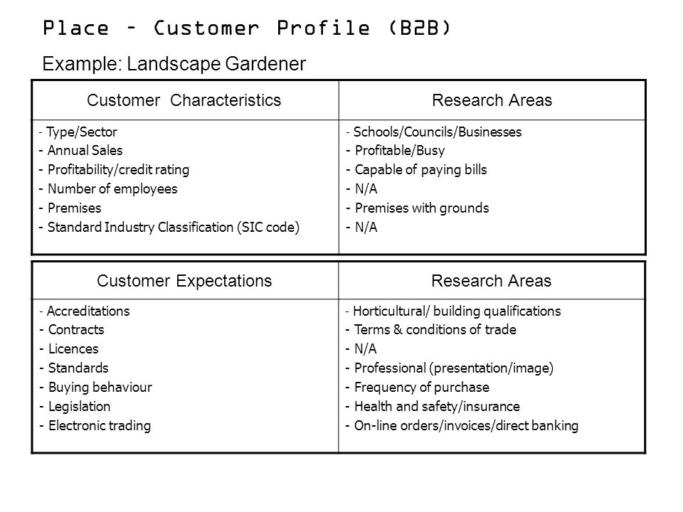 Place – Customer Profile (B2B)
