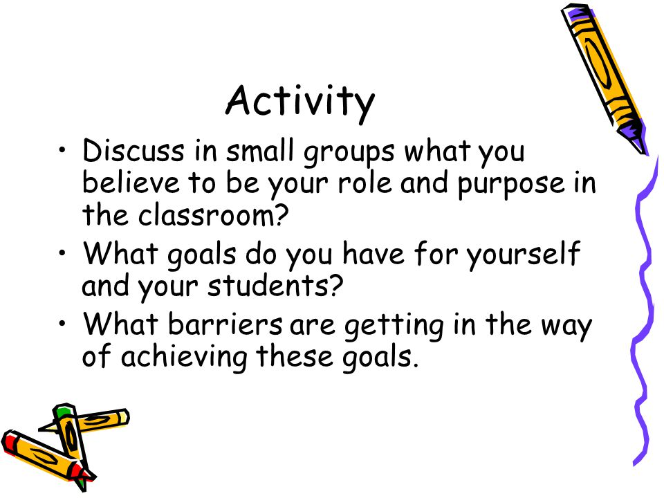 Activity Discuss in small groups what you believe to be your role and purpose in the classroom