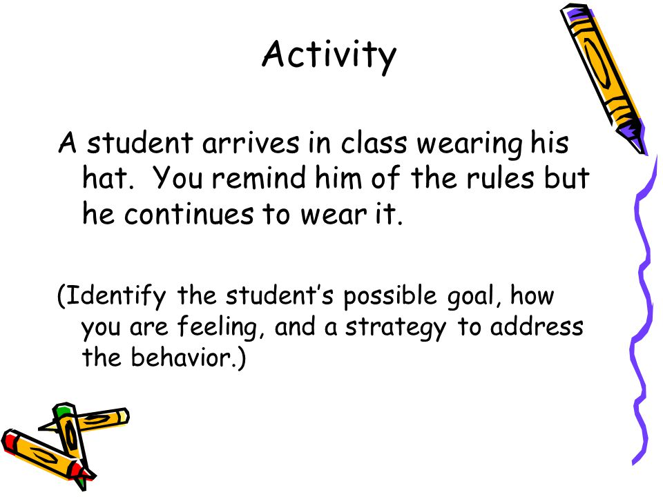 Activity A student arrives in class wearing his hat. You remind him of the rules but he continues to wear it.