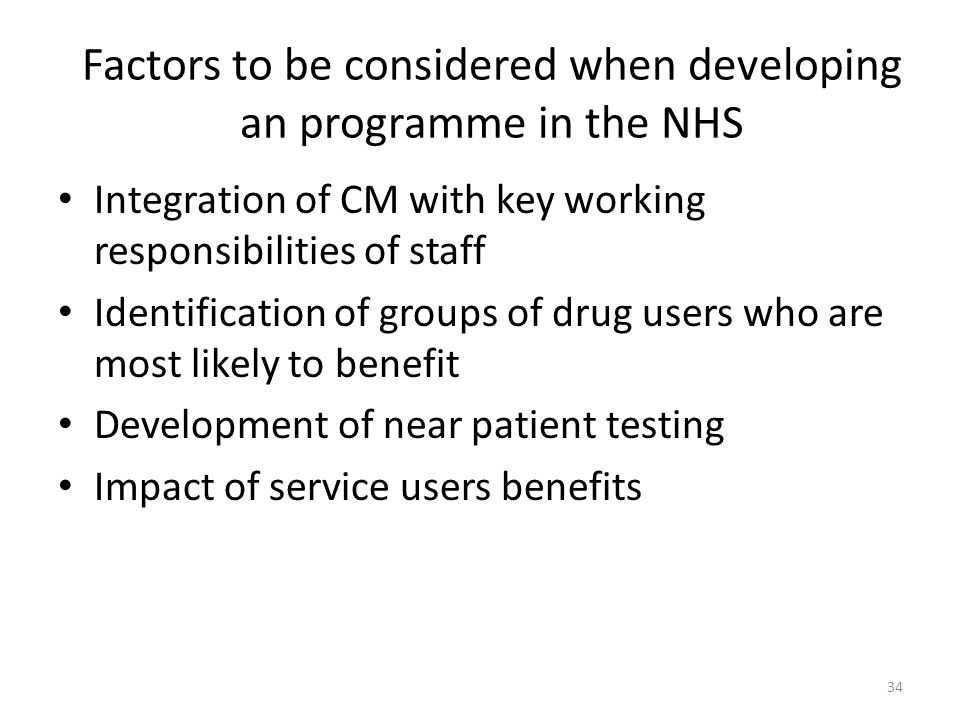 Factors to be considered when developing an programme in the NHS